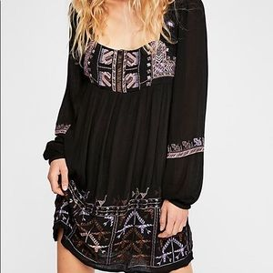 •Free People• Embroidered Babydoll Dress